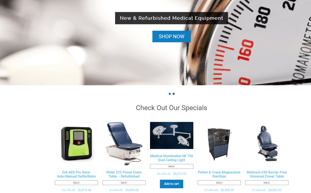 Medical Equipment Specials Section